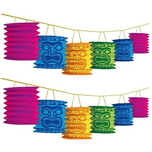 Amscan Hawaiian Summer Luau Beach Party Tiki Island Lantern Garland Decoration, Paper, 12 Feet (Two-Pack)