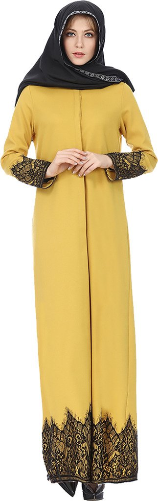 Ababalaya Women's Modest Muslim Islamic Long Sleeve Button Down Lace Long Abaya Dress,Yellow,Tag Size L = US Size 10-12