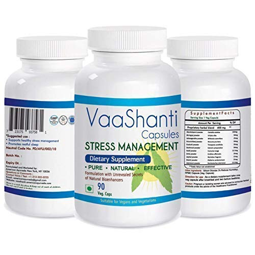 VaaShanti Natural Supplement for Stress Anxiety Relief - Specially Formulated Natural Medicine for Anxiety | All Natural Stress and Anxiety Relief & Sleep Aid | 90 Veg Capsules (Over The Counter Medicine To Help With Anxiety)