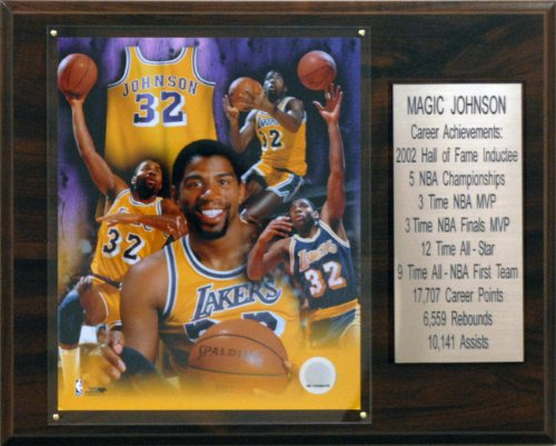 NBA Magic Johnson Los Angeles Lakers Career Stat Plaque - Magic Johnson Olympics