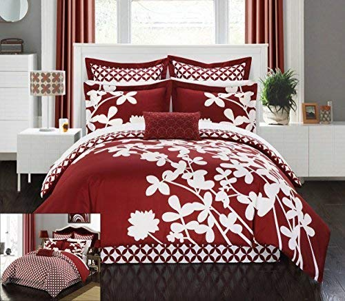 Chic Home 7 Piece Iris Reversible Large Scale Comforter Set, King, Red from Chic Home