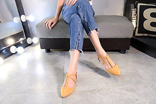 Mila Lady Laurel New Fashion Damen Spitz Knöchel Wrap T-Strap D'Orsay Wohnungen Kamel