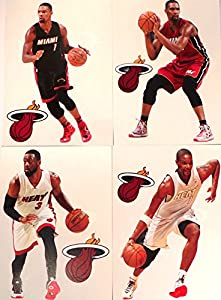 """Miami Heat FATHEAD Team Set 4 Players, 4 Heat Logo - Official NBA Vinyl Wall Graphics - Each Player Graphic 7"""" INCH"""