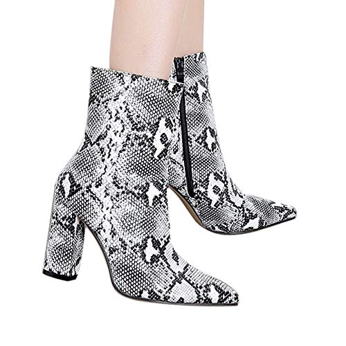 AgrinTol Women Snakeskin Pattern Toe Zip Thin Heel Thick Pointed Booties Shoes Boots