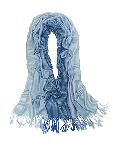 Dahlia Women's Rayon Scarf Shawl - Reversible Ombre Paisley - Light Blue