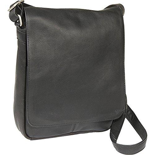 le-donne-leather-flap-over-shoulder-bag-black