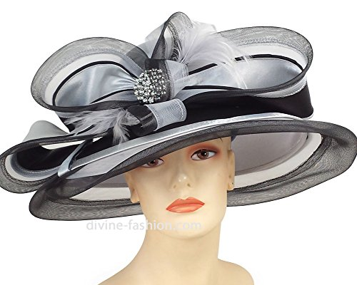 Ms. Divine Collection Womens Wide Brim Church Hat, Dressy Formal Hats #H865