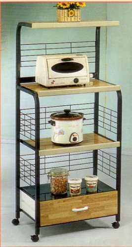 BEAUTIFUL KITCHEN MICROWAVE SHELF W. OUTLET IN BLACK by Cross Country Furniture