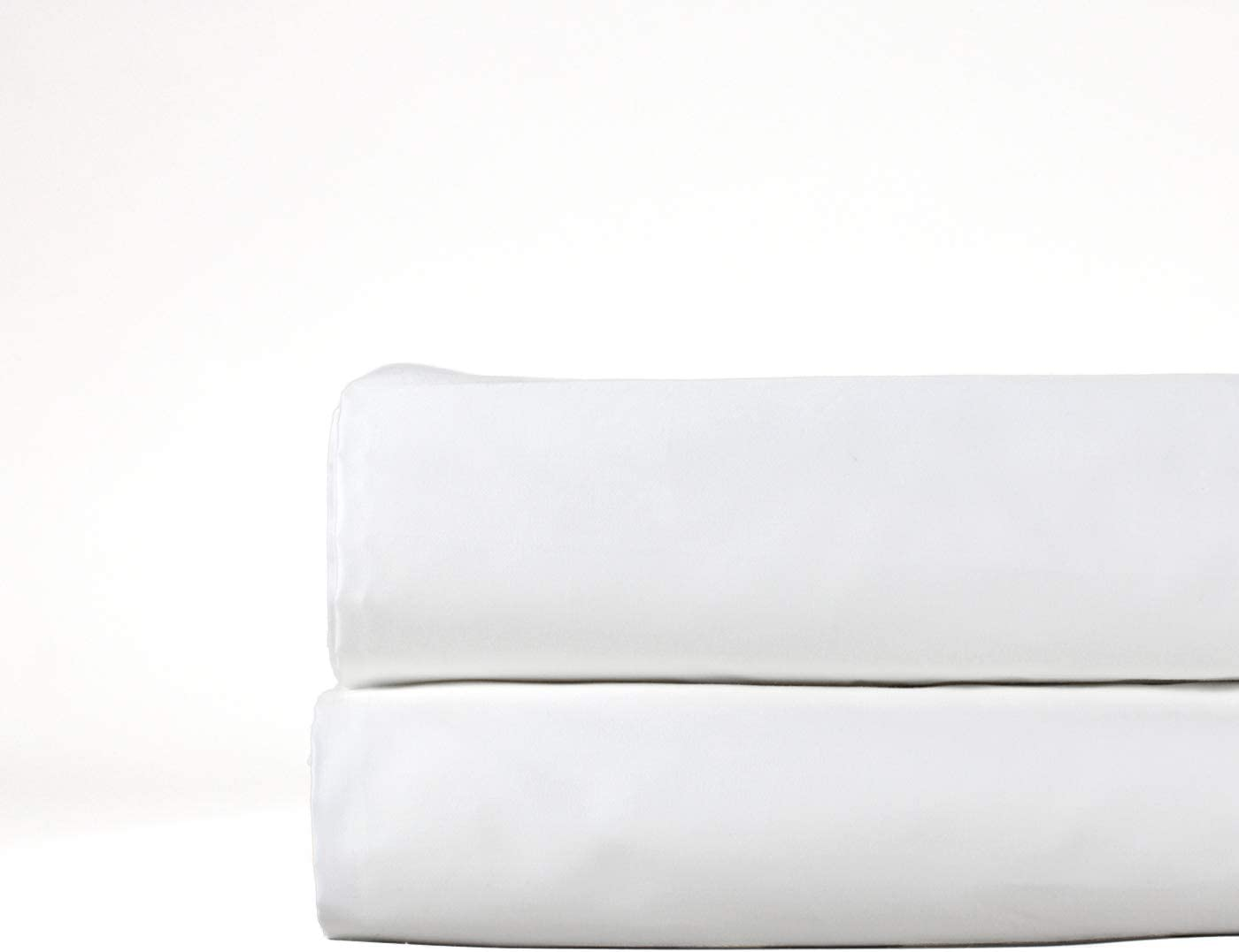 THOMAS LEE 500 Thread-Count Percale, US-Grown Pima Cotton, Classic White, Flat Bed Sheet - Pure White Queen Flat Sheet for Bed