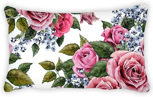 ElijahToby Polyester Pillow Cover Watercolor Rose Bolster Throw Lumbar Pillow Case Cushion Cover for Couch Sofa Home Decorative 12×24 Inches