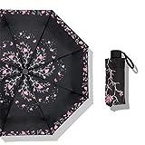 Guoke Compact Mini Vinyl Umbrellas Sunscreen Anti-Uv Light Pocket Fold Sunny Umbrellas, Black - Red Butterfly