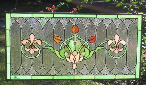 Tiffany Stained Glass Transom Window Panel Fleur De Lis 32