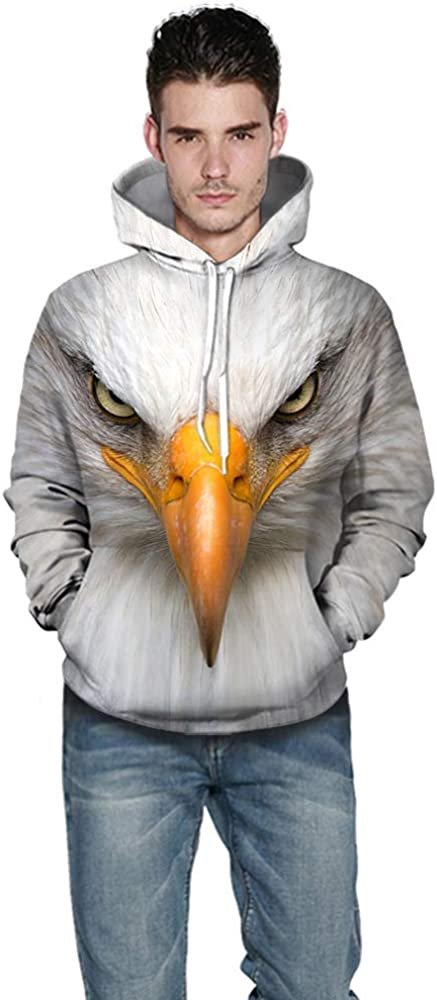 LUOYLYM 2019 Long-Sleeved Blouse Jacket New Sweater Mens and Womens Bald Eagle 3D Printed Hoodie Couples Casual Sports Pullover