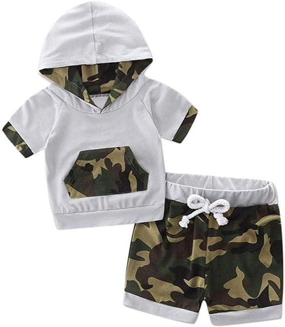 WOCACHI Toddler Baby Boys Clothes Infant Baby Boys Camo Plaid Pocket Vest Shorts Outfits Clothes Set