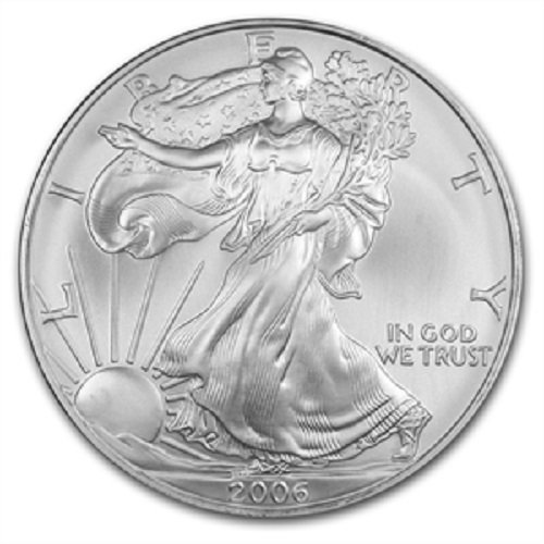 2006-1 Ounce American Silver Eagle Low Flat Rate Shipping .999 Fine Silver Dollar Uncirculated US Mint ()