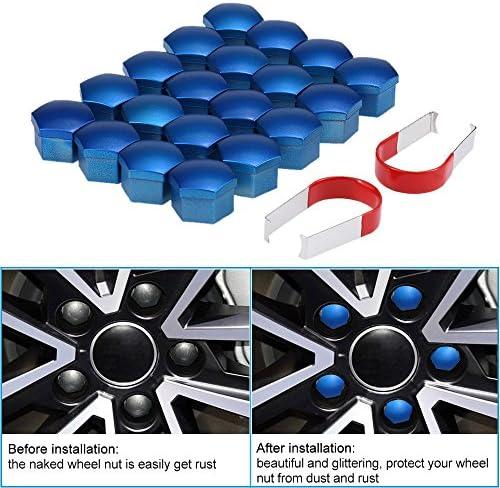 20本のセットユニバーサル17ミリメートルクロームプラスチック車のホイールナットは、ボルトキャップをカバー