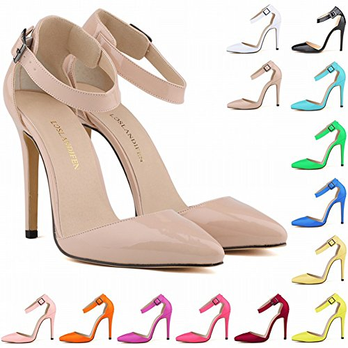 Tomwell Court Shoes for Women PU Slip On Pointed Toe Stiletto High Heel Wedding Formal Shoes Ankle Strap Buckle Sandals Work Pumps Party Dress Rose CzyFsdBS