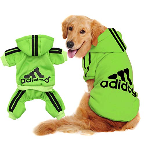 Scheppend Adidog Big Dog Large Clothes Sport Hoodies Sweatshirt Pet Winter Coat Retriever Outfits, Green 9XL