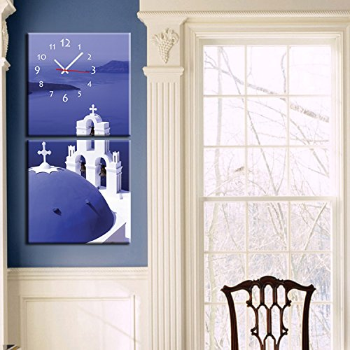Abstract painting wall clock Frameless decorated Blue christian church Canvas painted wall clock , 6060cm