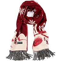 Cywulin Christmas Women Scarves,Imitation Cashmere Tassels Snowflakes Warm Scarves (Wine Red)