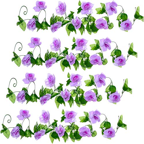 Well Love Artificial Flower Rose Vine Garland 8FT/Piece for Home Kitchen Wedding Party Garden Festival Office Outdoor Hanging Arch DIY Craft Art Decor Lilac Gift Set
