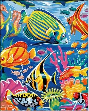 Prime Leader Wooden Framed Diy Oil Painting, Paint By Number Kit Underwater World Tropical Fish 16x20 Inch