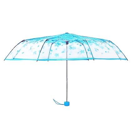 AchidistviQ Paraguas de Moda para Mujer, Transparente, diseño de Cerezo Flotante, sombrilla Plegable