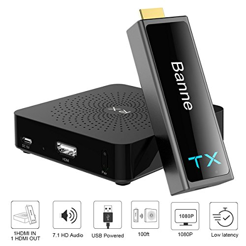 Wireless HDMI Transmitter and Receiver,Banne HDMI Wireless Extender for 100ft 1080p 3D Video/Audio Streaming from Laptop,PC,Netflix,PS4,Xbox 1,Pro Camera to HDTV, Projector,Monitor