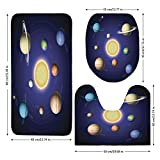 3 Piece Bathroom Mat Set,Space,Solar System Illustration Showing Planets around Sun Harmony of Galaxy Science Room Image,Multi,Bath Mat,Bathroom Carpet Rug,Non-Slip