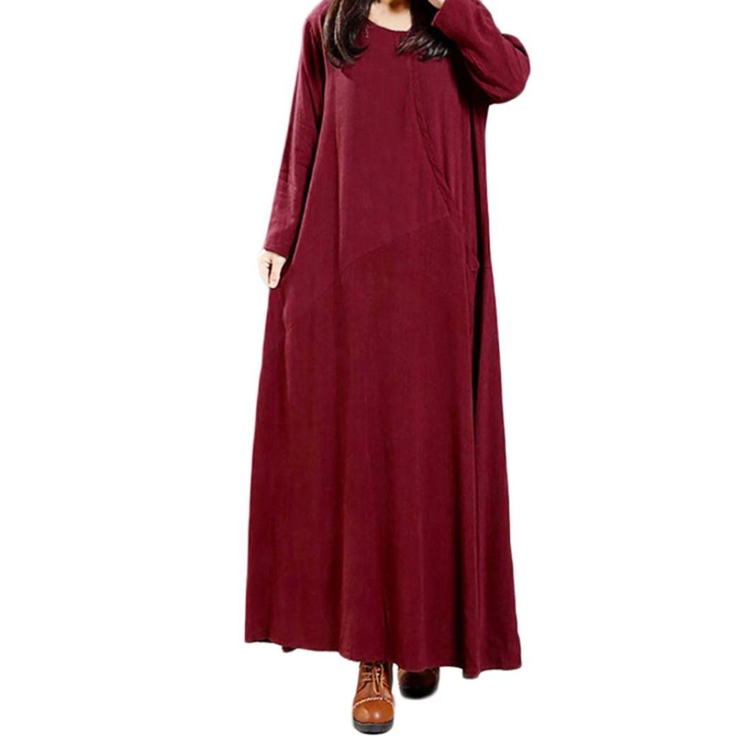 Spbamboo Women Plus Size Pure Color Pocket Cotton And Linen Loose Long Dress