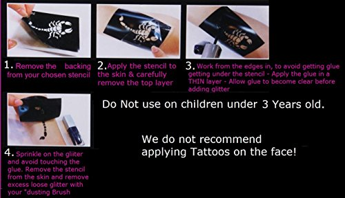 Tattoo Stencil Collections (32 Tattoo Glitter Airbrush Stencil Emoji c1) by KazCreations (Image #1)