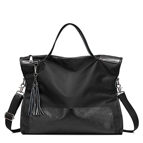 Lightweight Hobo Bag (Women Top Handle Satchel Handbags Shoulder Hobo Bag Messenger Bag Casual Tote Bag Designer Purse Crossbody Bag Genuine leather & Nylon Light-weight Large Capacity with Tassel for Travel Business Shopping Daily Black)