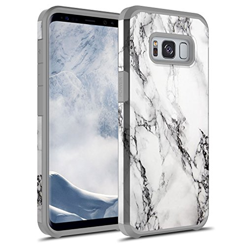 Galaxy S8 Case, Rosebono Hybrid Dual Layer Shockproof Hard Cover Graphic Fashion Cute Colorful Silicone Skin Case for Samsung Galaxy S8 - White Marble