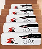 iPrint Non-Slip Carpets Stair Treads,Wolf,Fairy Tale Design with Little Girl Colorful Scarf Big Scary Animal Sketch Style,Black Red White,(Set of 5) 8.6''x27.5''