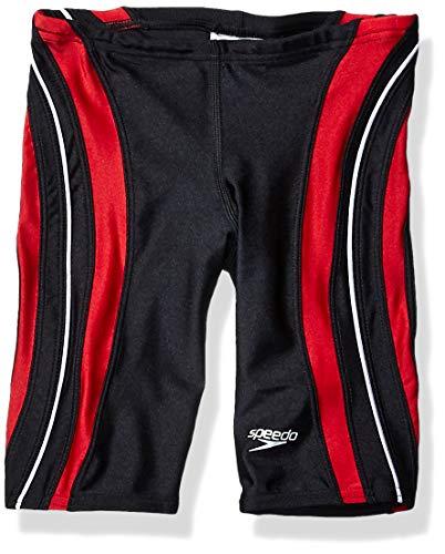 Speedo Men and Boys' Xtra Life Lycra Rapid Splice Jammer Swimsuit, Black/Red, 28 (Boys Speedo Jammer)