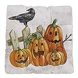 Tufted Chair Cushion Cute Halloween Pumpkins and Crow
