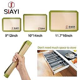 SIAYI Silicone Baking Mat Non-Stick Non-Skid Reusable Easy to Clean Baking Mat Set Multiple Sizes 3PCS Green