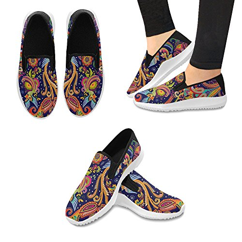 Interestprint Mujeres Slip-on Loafer Zapatos Canvas Fashion Sneakers Multi 1