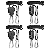 iPower GLROPEX2 2-Pair 1/8 Inch 8-Feet Long Heavy Duty Adjustable Rope Clip Hanger (150lbs Weight Capacity) Reinforced Metal, 2 Pack, Black