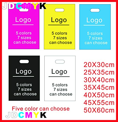 - Custom print plastic bags clothes bags or packing bags 500PCS with logo ONE COLOR LOGO Pint (20X30cm, two side print)