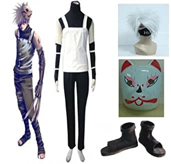 Naruto Kakashi Anbu Cosplay Costume new outfit with Wig&Mask &Shoes 2013052921