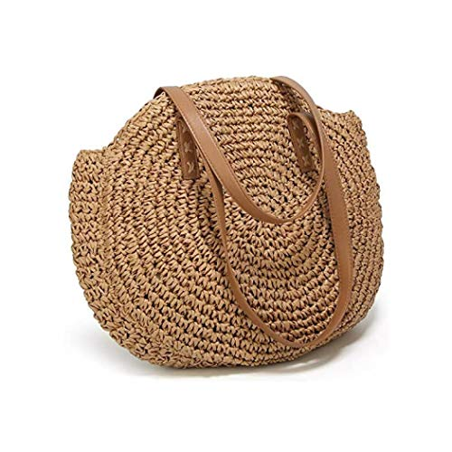 Summer Woven Tote Shoulder Bag Beach Handbag Rattan Bag Weave Handbag Large Capacity Straw Bag Wallets (Coffee color1) ()