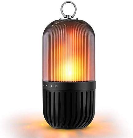 MRXUE Lampe de Chevet Flamme avec Bluetooth Haut Parleur