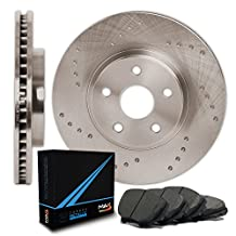 Rear Premium Cross Drilled Rotors and Carbon Metallic Pads Brake Kit TA020822 | Fits: 2012 12 Ram 1500 w/ 5 Lugs Rotors