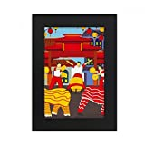 Lion Dance Chinese Custom China Town Desktop Photo Frame Picture Black Art Painting 5x7 inch