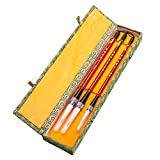 Chinese Calligraphy Japanese Sumi Drawing Brush Hu Pen Jian Hao (Goat & Wolf Hair) 3 Pcs Gift Set