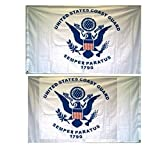 Coast Guard 3×5 Ft Double Sided Poly Flag with Brass Grommets For Sale