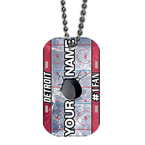 Detroit Red Wings Logo Charm (BleuReign(TM) Personalized Custom Name Hockey Team Detroit License Plate Single Sided Metal Military ID Dog Tag with Beaded Chain)