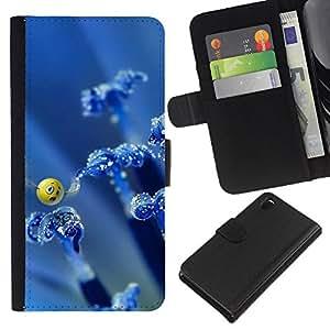 KingStore / Leather Etui en cuir / Sony Xperia Z3 D6603 / Arte Smiley Mariposa Naturaleza Azul Wallpaper