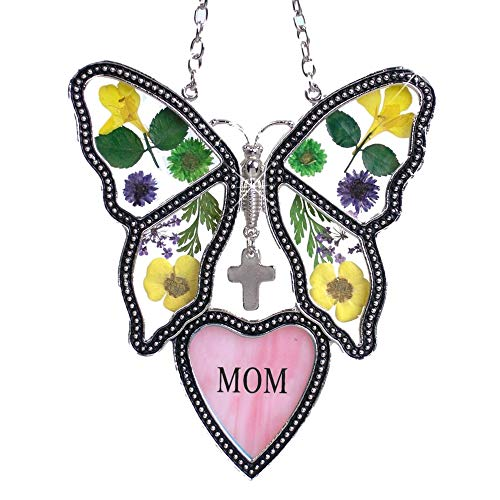 Marble Pressed Glass (BANBERRY DESIGNS Mom Butterfly Suncatcher - Pressed Flower Glass Butterfly with Pink Mom Heart - Birthday Gifts for Mom - Gifts for Her)